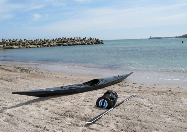 beached black Zegul a core kayak