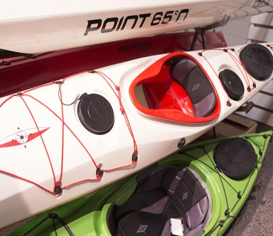 Point 65 n kayaks stacked